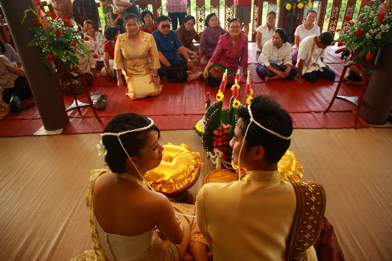 Temple marriage blessing before thgetting legally married in Chiang Mai Thailand
